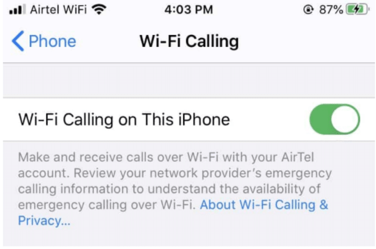 WiFi Calling on Phone
